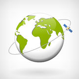 Earth vector icon width satellite. On a white background Royalty Free Illustration