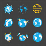 Earth vector icons set on dark background Royalty Free Stock Images