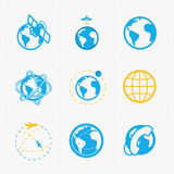 Earth vector icons set on white background. Royalty Free Stock Images