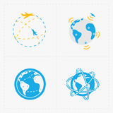 Earth vector icons set on white background. Royalty Free Stock Photos