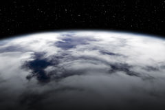 Earth view from above. A wide view from above of the earth, clouds and stars royalty free illustration
