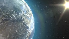 Earth view. Beautiful animation of the Earth from outer space royalty free illustration