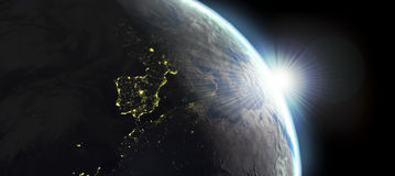 Earth view with day and night effects Stock Photography