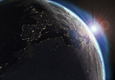 Earth view with day and night effects Stock Photo