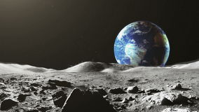 Earth view from the Moon surface stock video
