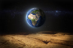 Earth view from planet Mars surface Stock Photography