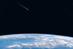 Earth view space. Earth view from space with shooting star as eyecatcher royalty free illustration