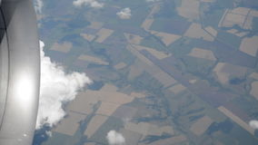 Earth view through the window. Earth view through the airplane window, russian territory stock footage