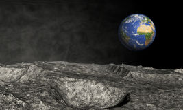 Earth viewed from asteroid Royalty Free Stock Image