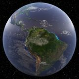 Earth viewing amazon 3D render. Earth focused on the Amazon viewed from space Stock Images