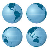 Earth views pack with four positions vector Stock Photo