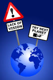 Earth vision. Lack of vision and management (economy, ecology etcetera) on earth Stock Images