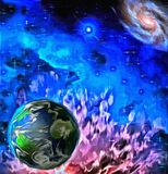Earth in vivid space. Painting vector illustration
