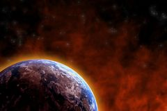 Earth warming. Glowing earth, red cloud in black space Royalty Free Stock Image