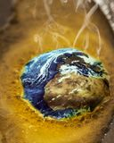 The Earth is Warming Up Quickly. A photo illustration of Earth melting away quickly from anthropogenic climate change Stock Photo