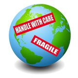 Earth With Warning Labels. An illustration featuring the planet Earth with labels including 'handle with care' and 'fragile vector illustration