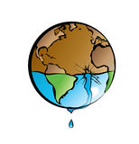 Earth and water 2. Water is leaking out of planet earth Royalty Free Illustration