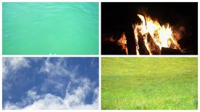 Earth water air fire, four classical elements elements concept, Video clips collage stock video footage