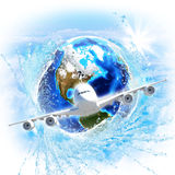 Earth with water and airplane Stock Images
