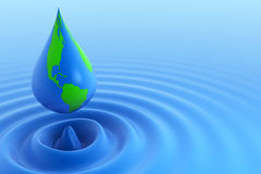 Earth water drop Stock Photos
