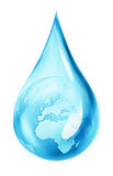 Earth in water drop vector illustration