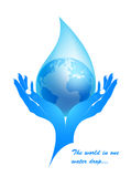 Earth in a water drop in female hands. Vector. The concept - protection of water resources from pollution Stock Photos