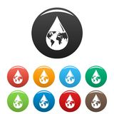 Earth water drop icons set color royalty free illustration