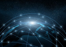 Earth in a web of network Stock Photo
