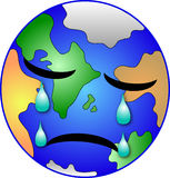 Earth weeping. Our nice earth crying about the fatal global situation Royalty Free Stock Photography