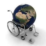 Earth on a wheelchair Stock Photography