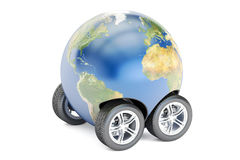 Earth with wheels, travel or worldwide delivery concept, 3D rend Stock Photography