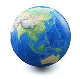 Earth  on white background. With soft shadow. Focus on China, South East Asia, Australia, Oceania. Map and earth data used is computer generated in public Royalty Free Stock Photo
