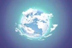 Earth with white clouds on a color background Royalty Free Stock Image