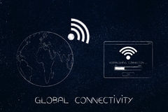 Earth with wi-fi symbok next to Connection pop-up Royalty Free Stock Images