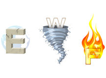 Earth Wind Fire. Lettered representations of earth, wind, and fire Stock Photos