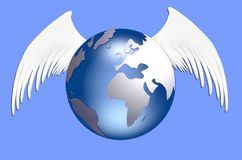 Earth with wings Royalty Free Stock Images