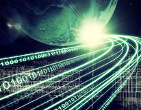 Earth, wire-frame buildings, light beams, digits Stock Image