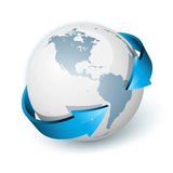 Earth With Arrows Circle Around Royalty Free Stock Photo