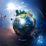 Earth With The Different Elements Royalty Free Stock Image