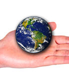 Earth on woman hand Stock Photography