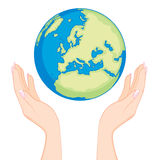 Earth Woman Hands Stock Photo