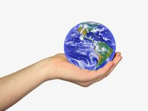 Earth in woman's hand stock photos