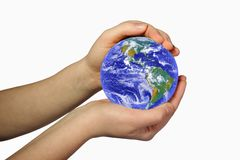 Earth in woman's hands Stock Images