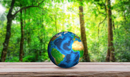 Earth on wood table Royalty Free Stock Images