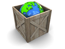 Earth in wooden crate Stock Images