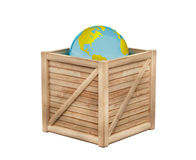 Earth in wooden crate Stock Photo
