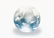 Earth World Globe. With clouds on a light white back ground Royalty Free Stock Images