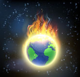 Earth World Globe on Fire. The earth world globe on fire, concept for climate change, global warming, or other disasters Stock Photo