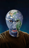 Earth World Head. A young man with a the earth as his head stock images