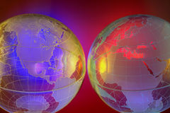 HIGH TECH EARTH WORLD GLOBE BACKGROUND SET Stock Photos